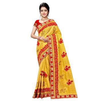 SATIMA | Designer Yellow Silk Blend Embroidered Saree