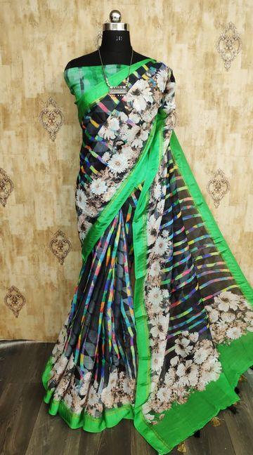 SATIMA   Satima Green color line blend digital print saree