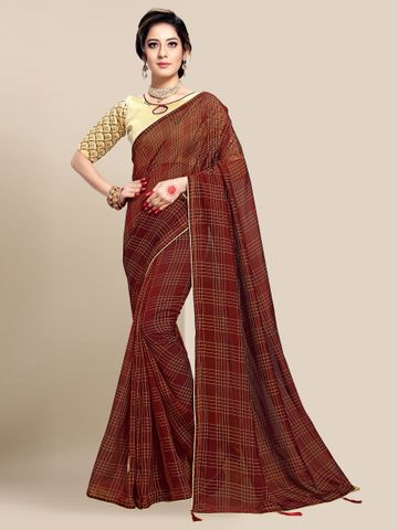 SATIMA | WOMEN'S BROWN SELF DESIGN PRINTED GEORGETTE SAREE