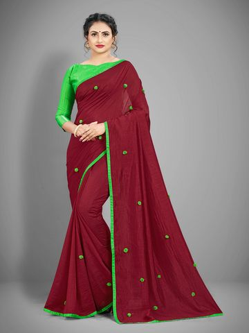 JINAL & JINAL | JJ Women's Silk Saree with Pom Pom - MAROON