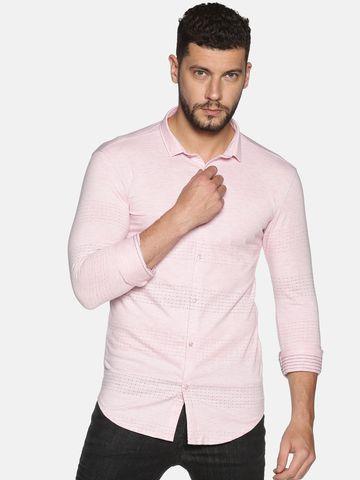 Showoff | SHOWOFF Men's Cotton Casual Pink Solid Slim Fit Shirt