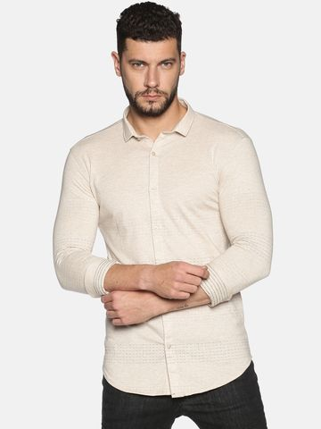 Showoff | SHOWOFF Men's Cotton Casual Beige Solid Slim Fit Shirt