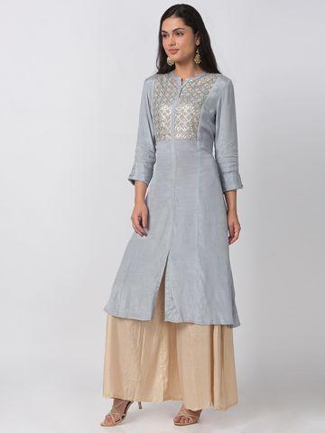 Ethnicity | Ethnicity Cotton Silk A Line Three-Fourth Women Grey Kurta