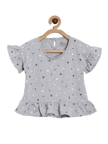 Kryptic | Kryptic girls 100% Cotton printed Top with ruffle sleeve