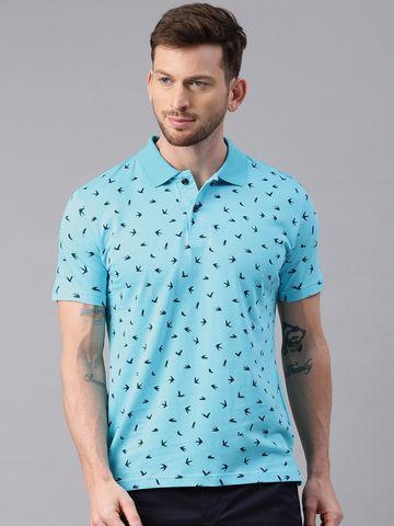 Kryptic | Kryptic Men's Printed polo tshirt in aqua base with Navy blue print