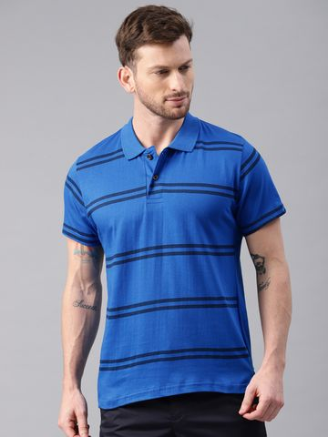 Kryptic | Stripe printed polo tshirt in Cobalt base with Navy blue print