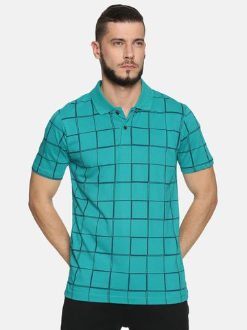 Kryptic | Kryptic Men's Windowpane check printed polo tshirt