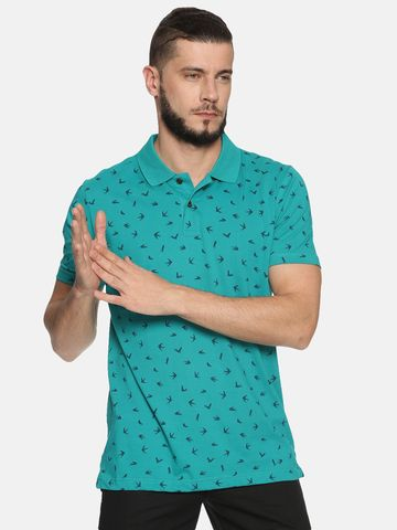 Kryptic | Kryptic Men's Bird printed polo Tshirt