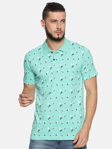 Kryptic | Kryptic Men's Tropical leaf printed polo Tshirt