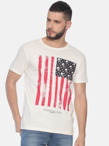 Kryptic | Kryptic Men's Flag with skull printed round neck tshirt