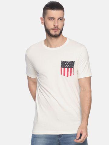 Kryptic | Kryptic Men's Round neck tshirt with flag print on pocket