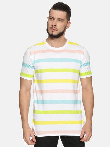 Kryptic | Kryptic Men's Multicolour stripe printed round neck tshirt