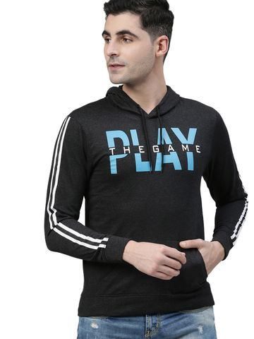 Kryptic | Kryptic Mens Cotton rich athleisure printed sweatshirt with hood