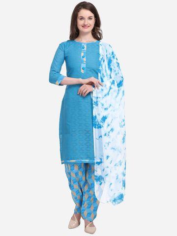 SATIMA   Women's Blue Solid Cotton Unstitched Salwar Suit