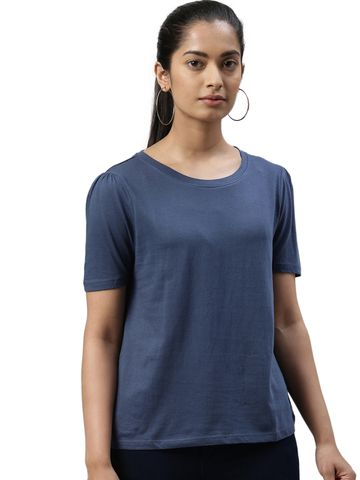 Kryptic | Kryptic womens 100% Cotton solid tshirt with puff sleeve