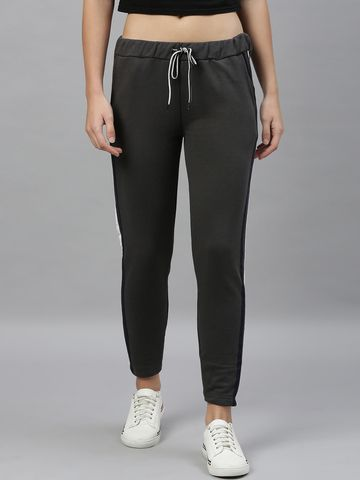 Kryptic | Kryptic womens 100% Cotton solid track pant with side tape detailing