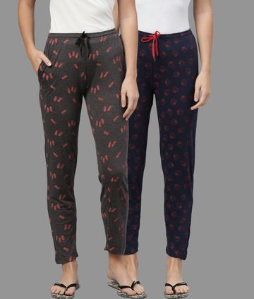 Kryptic | Kryptic Womens Cotton Melange/Navy Combo Pyjamas