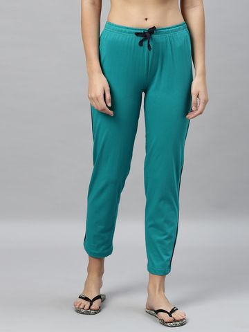 Kryptic | Kryptic womens 100% Cotton solid lounge pant with contrast piping detail