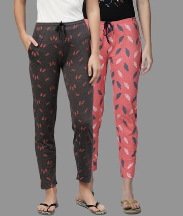 Kryptic | Kryptic Womens Cotton Melange/Peach Combo Pyjamas