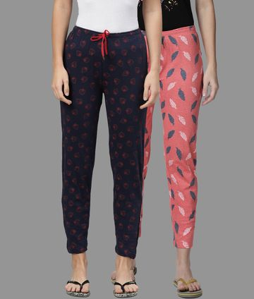 Kryptic | Kryptic Womens Cotton Navy/Peach Combo Pyjamas