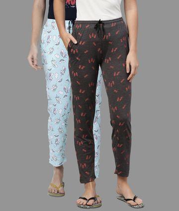 Kryptic | Kryptic Womens Cotton Melange/Sky Blue Combo Pyjamas