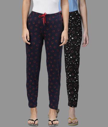Kryptic | Kryptic Womens Cotton Navy/Dark Blue Combo Pyjamas