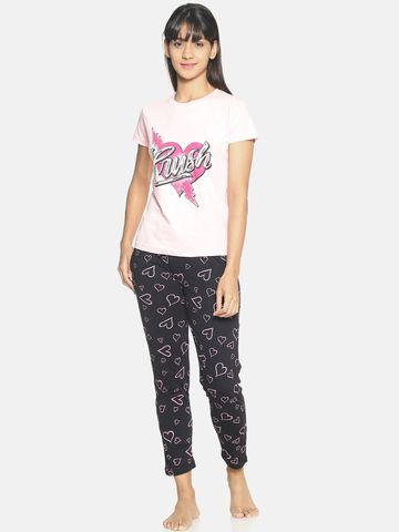 Kryptic   Kryptic Womens 100% cotton printed nightsuit with all over printed bottom and graphic printed Tshirt