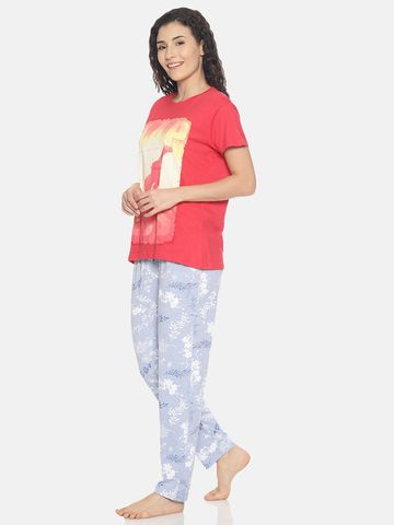 Kryptic | Kryptic Womens 100% cotton printed nightsuit with all over printed bottom and placement printed Tshirt