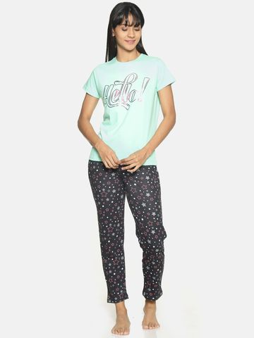Kryptic | Kryptic Womens 100% cotton printed nightsuit with all over printed bottom and printed Tshirt
