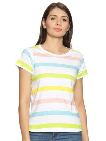 Kryptic | Multicolour stripe printed round neck tshirt
