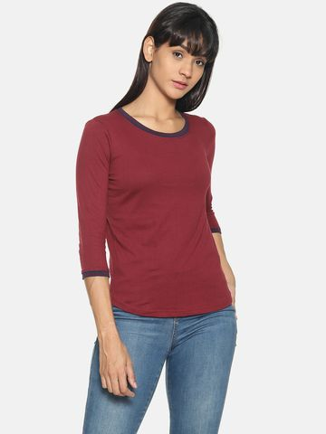 Kryptic | Kryptic Womens 100%cotton solid Tshirt with striped rib detailing at neck and sleeve cuff