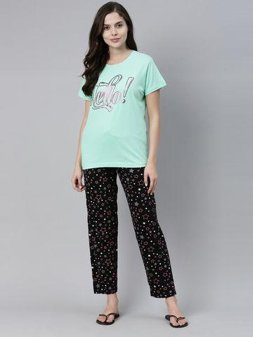Kryptic | Kryptic Womens 100% Cotton printed nightsuit with Pyjama pant