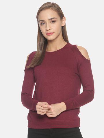 Kryptic | Kryptic Womens solid cold shoulder sweatshirt