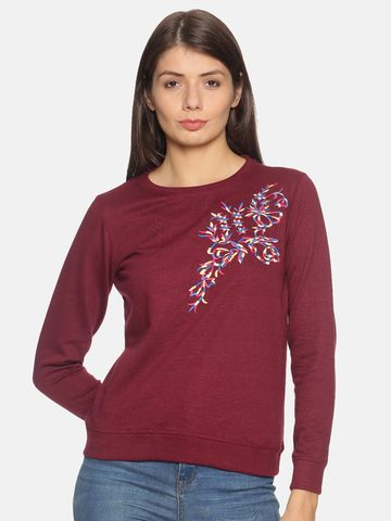 Kryptic | Kryptic Womens solid embroidered sweatshirt