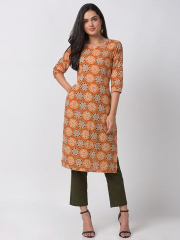 Ethnicity | Ethnicity Orange Cotton Women Kurta