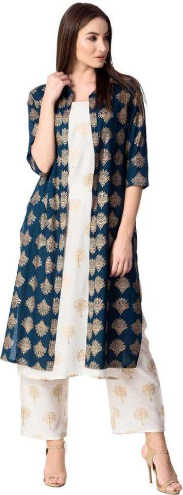 GAYRAA | Gayraa Women's rayon white kurta with pant and jacket