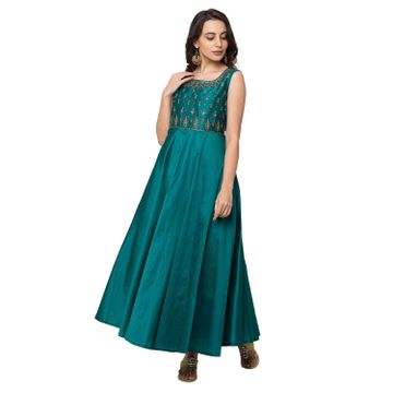 Ethnicity | Ethnicity Blended Maxi Women Green Gown