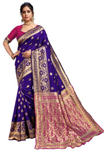 Glemora | Glemora Blue & Pink Lichi Cotton Kalpana Saree With Unstitched Blouse