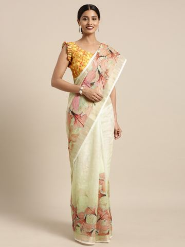 SATIMA | Satima Yellow & Chandari Print zari Saree