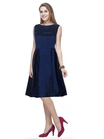 POONAM TEXTILE   Designer Blue Solid Western Dress