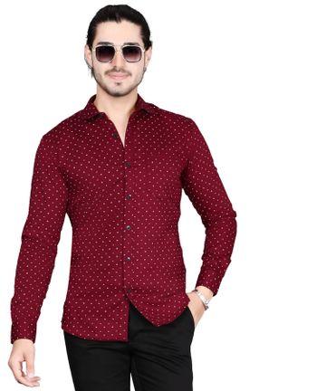 5th Anfold | Fifth Anfold Mens Polka Printed Casual Pure Cotton Full Sleev Maroon Shirt