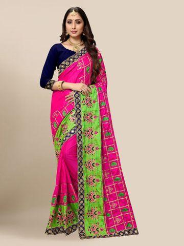 SATIMA | Women's Embroidered Pink Silk Blend Pochampally Leheriya Saree