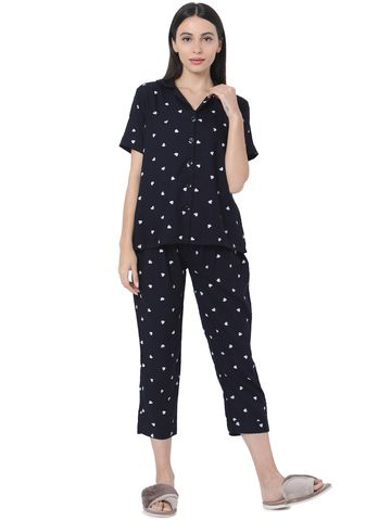 Smarty Pants | Smarty Pants women's cotton navy blue color heart print night suit
