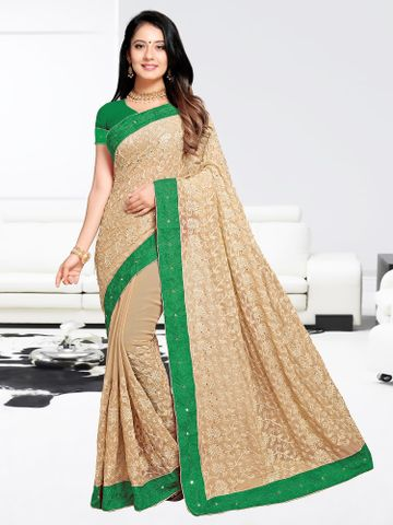 SATIMA | Designer Green Georgette Woven Saree