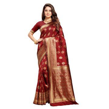 POONAM TEXTILE | Gorgeous Maroon Banarasi Jacquard Silk Reception Saree