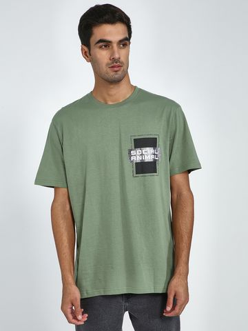 Blue Saint | Blue Saint Men's Green Regular Fit T-Shirts