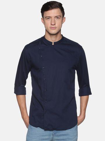 Showoff | SHOWOFF Men's  Lenin Casual Navy Solid Slim Fit Shirt
