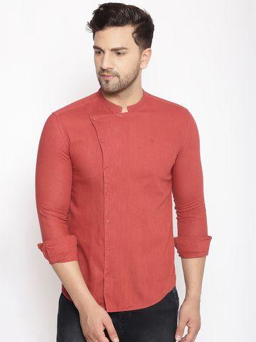 Showoff | SHOWOFF Men's  Lenin  Maroon Solid Slim Fit Shirt