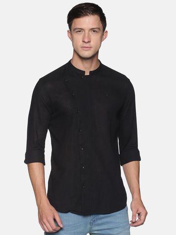 Showoff | SHOWOFF Men's  Lenin Casual Black Solid Slim Fit Shirt