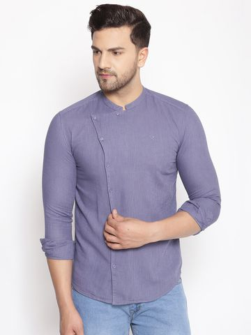 Showoff | SHOWOFF Men's  Lenin  navy Solid Slim Fit Shirt